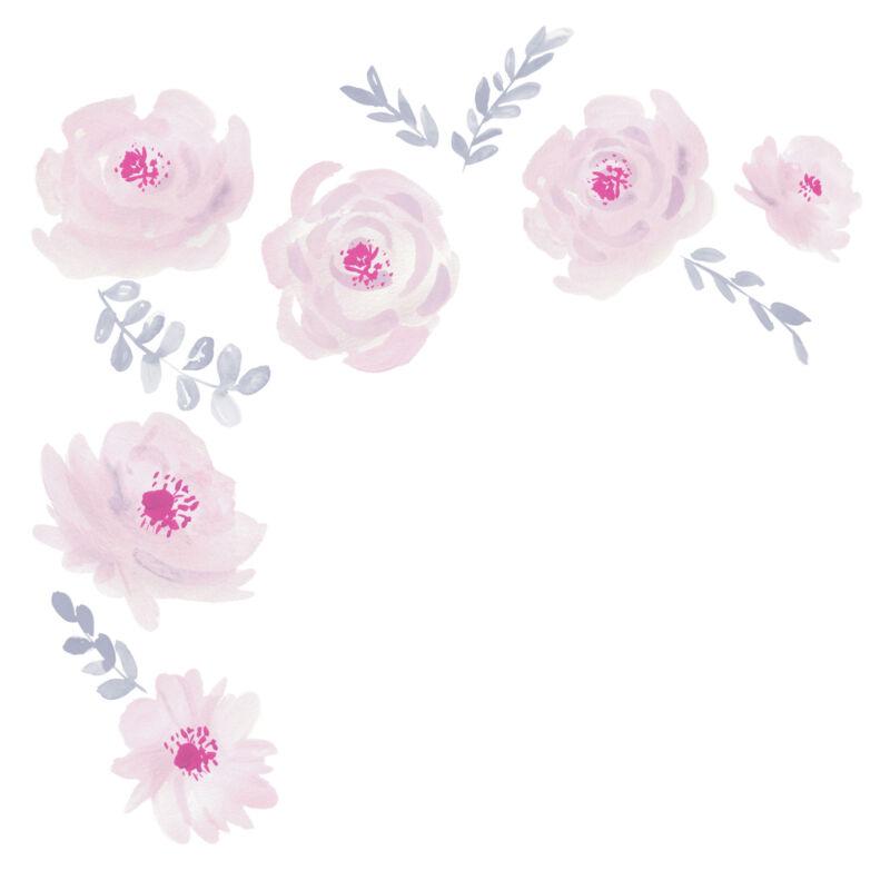 Bedtime Originals Blossom Pink/Gray Watercolor Floral Wall Decals