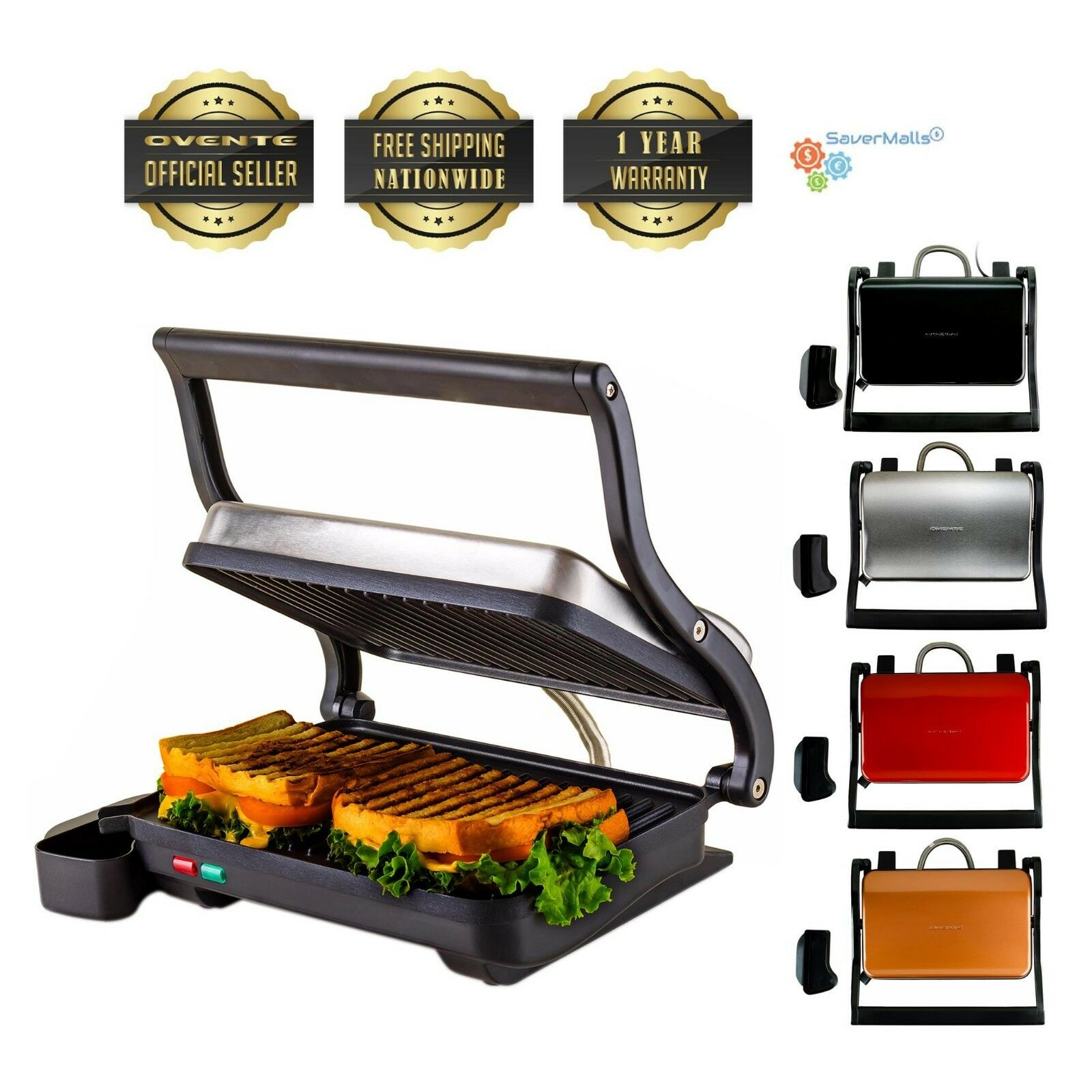 Ovente Electric Panini Press Grill and Gourmet Sandwich Make