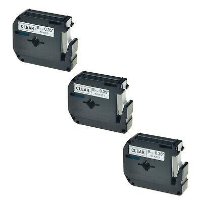 3pk 9mm Mk121 M-k121 Black On Clear Label Tape For Brother 9mm Pt-90 Pt-85 38