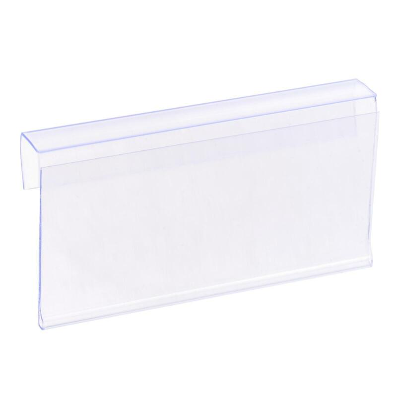 Label Holder L Shape 80x40mm Clear Plastic for Wire Shelf, Pack of 20