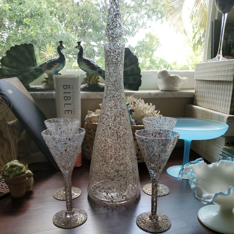 Antique White & Gold Spaghetti Set Decanter Cordial Glasses ~ W. Virginia Glass