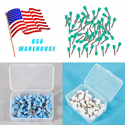 100pcs Dental Latch Type Prophy Brushes Polishing Cups Polish Rubber 3 Color Usa