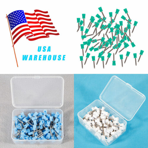 100PCS Dental Latch Type Prophy Brushes Polishing Cups Polish Rubber/3 Colors M