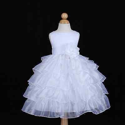 WHITE ORGANZA TIERED COMMUNION WEDDING FLOWER GIRL DRESS 12M 18M 24M 2 4 6 8 10](White Organza Flower Girl Dress)