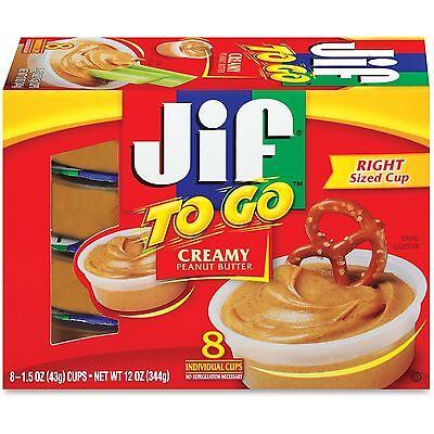 J M  Smucker Company Jif To Go Snack Cups 1 5 Oz 8 Pk Peanut Butter 24136