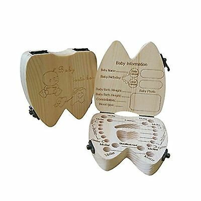 COCODE Wood Milk Tooth Keepsake Box Baby Children Save Teeth Storage Holder