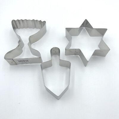 3 Hanukkah Metal Cookie Cutters Aluminum Crate and Barrel Dreidel Chanukah - Hanukkah Cookie Cutters