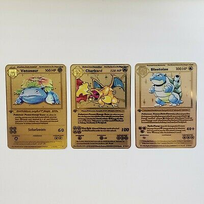 Metal Pokemon Cards Charizard Base Set Blastoise Venusaur Gold Shadowless 1st ed