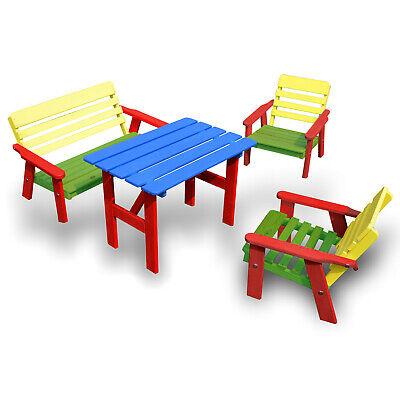 Gebraucht, Kindersitzgruppe Holz Garten Kinder-Set Sitz Garnitur Bank Tisch Stuhl HolzFee gebraucht kaufen  Markkleeberg