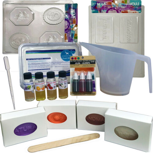 Soap Making Kit Melt & Pour Supplies: 2 LB Goats Milk Base, Molds, Fragrance