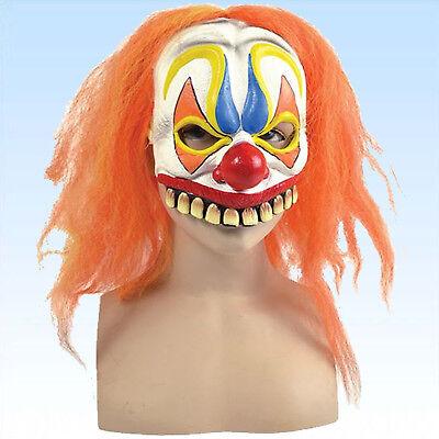 Maske böser Clown m. orange Haaren Clownsmaske Clownmaske f. Kostüm Clownskostüm