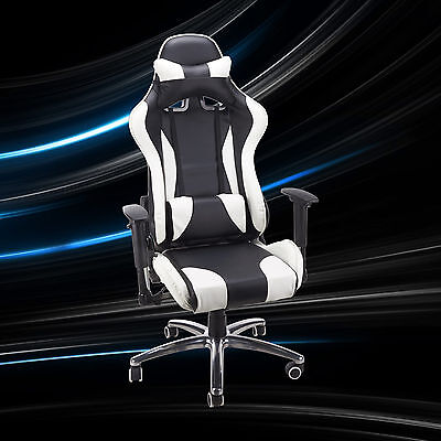 Executive Swivel Office Chair Race Car Style Bucket Seat High Back Leather
