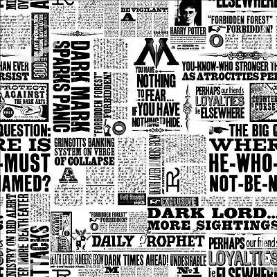 HARRY POTTER NEWSPRINT FABRIC - 100% Cotton - Black & White (93/4-05)
