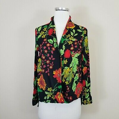 ZARA Small Floral Wrap Blouse Top High Low Long Sleeves