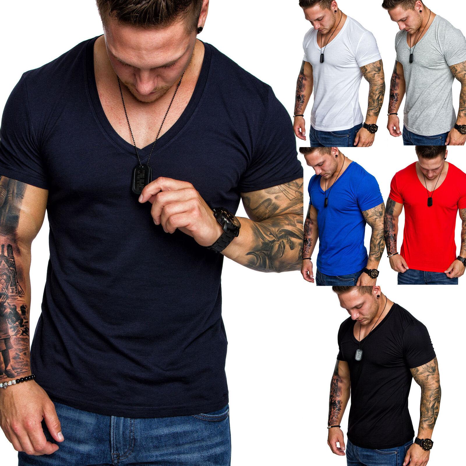 Oversize Herren Slim-Fit Long-Tee V-Neck Basic T-Shirt V-Ausschnitt 1-0006