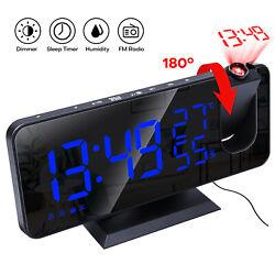 Digital Snooze Dual Alarm Clock Radio Timer LED Color Display Wall Projection US