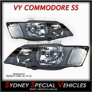 VY COMMODORE SS SV8 STYLE HEADLIGHTS PAIR - NEW BLACK HEAD LIGHTS 2002 - 2004