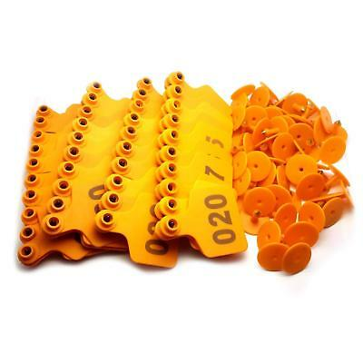 Us Stock 100x Orange 001-100 Number Plastic Livestock Ear Tag 3 X 2.4 For Cow