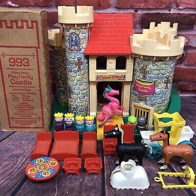 Vintage Fisher Price Little People Play Family Castle Pink Dragon #993 COMPLETE