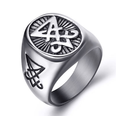 Mens Stainless Steel Ring Sigil of Lucifer Devil Seal of Satan Symbol Jewelry  Seal Mens Ring