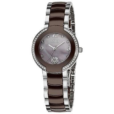New Women's Burgi BUR072BR Brown Mother of Pearl Diamond Dial Ceramic Watch