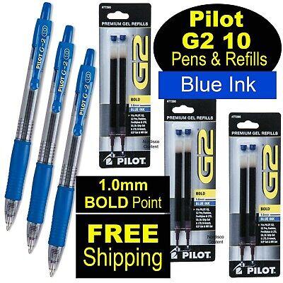 Pilot G2 10 Blue 1.0mm Bold Point Blue Gel Ink Rollerball Pens Refills