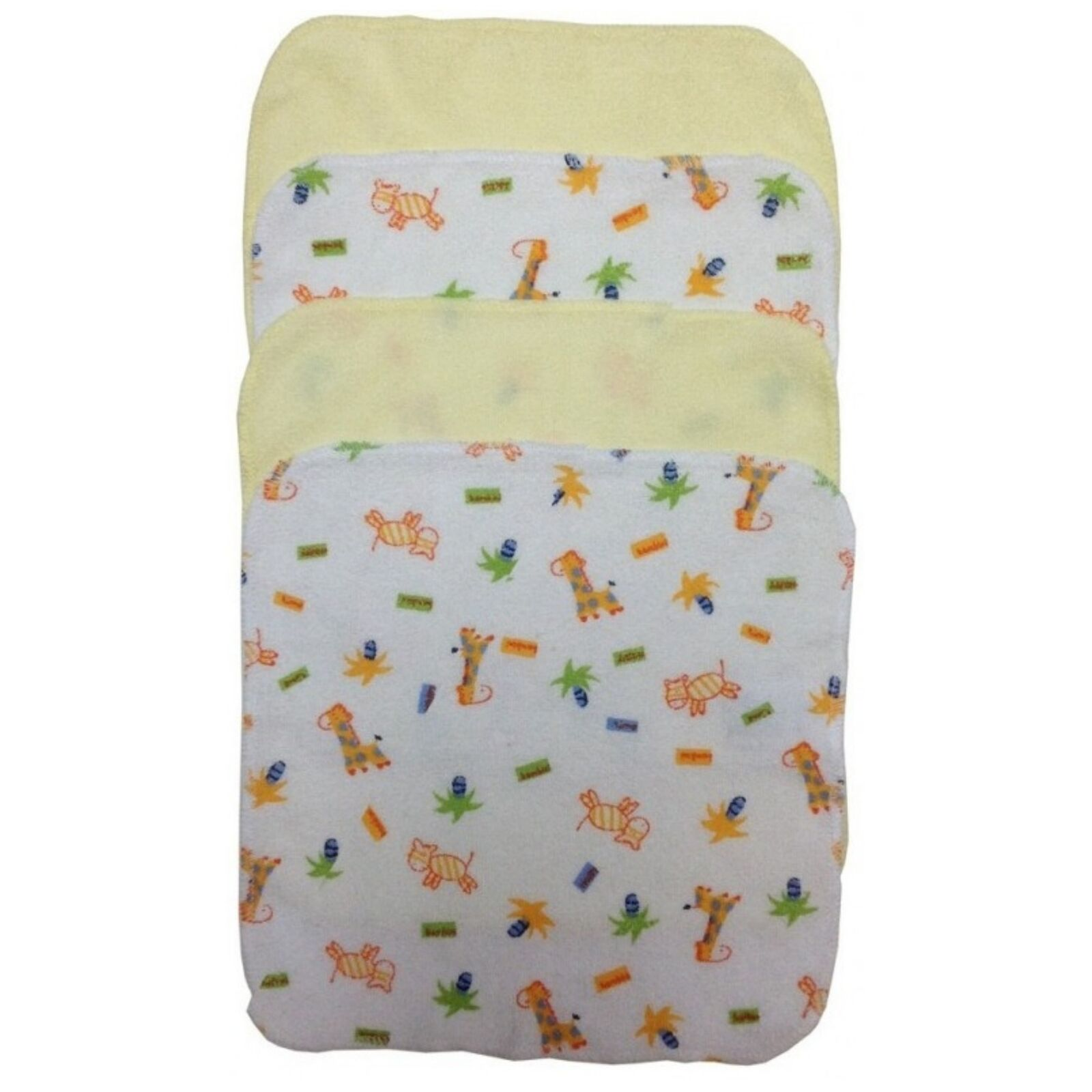 Baby's Yellow Color With Assorted Prints Terry Wash Cloth, 4 - Pack