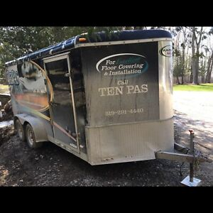 16 foot enclosed trailer to the point,  14 foot by 7 foot square