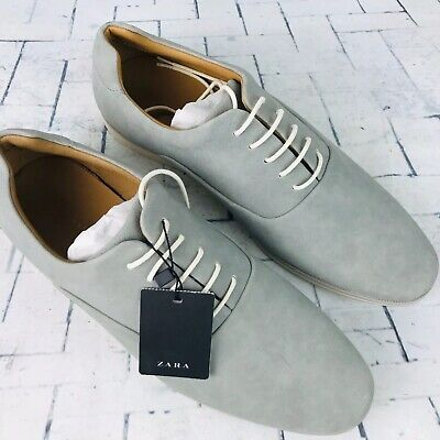 Zara Man Light Gray Microfiber Derby Lace Up Shoes - Size EUR 45 / US 12 ~ NWT