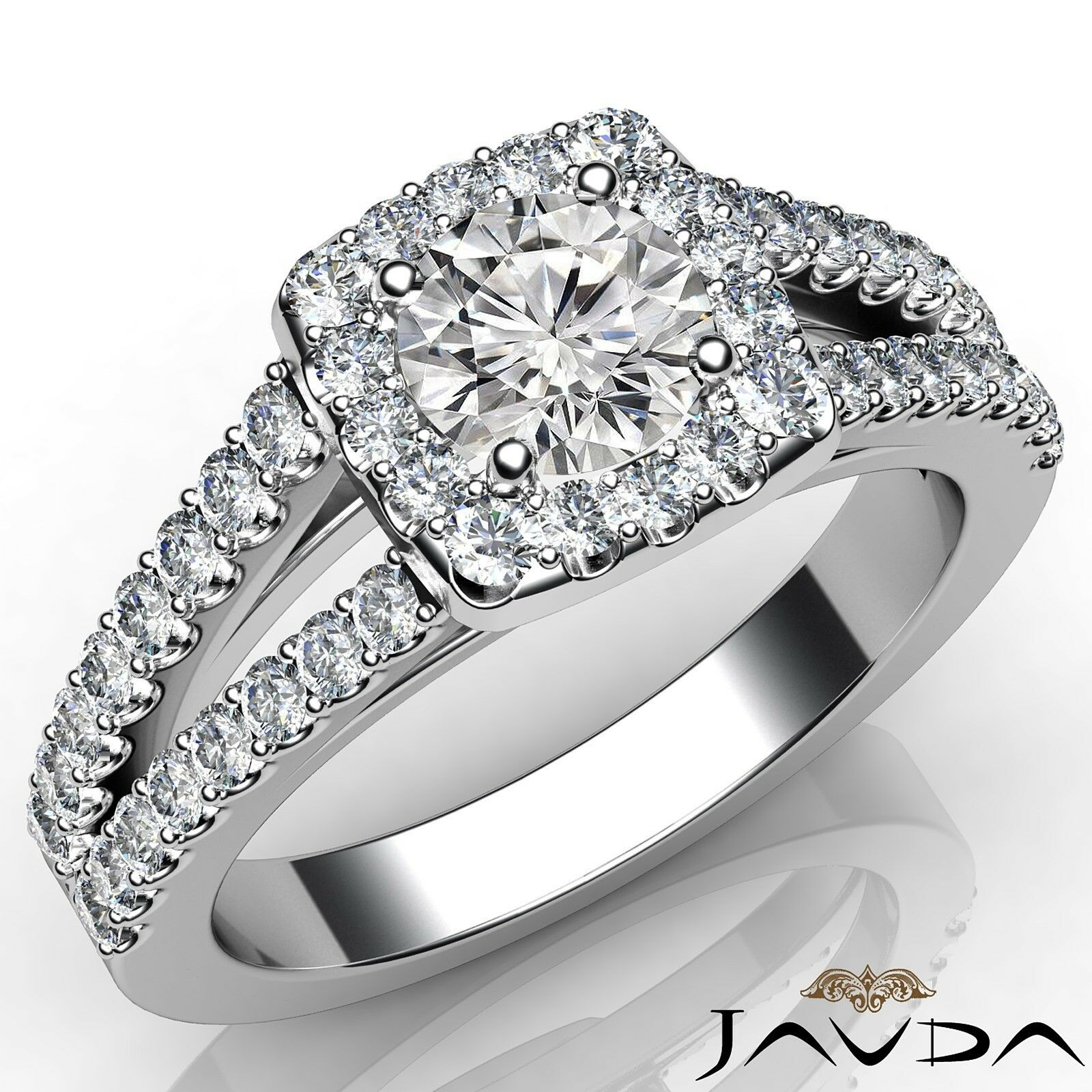 1.15ctw Scalloped Halo Round Diamond Engagement Ring GIA E-VVS2 White Gold Rings