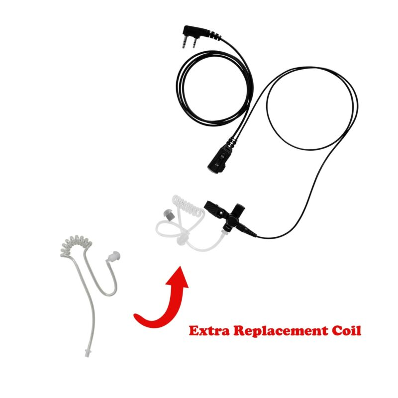 Walkie Talkie 1-Wire Earpiece with Extra Clear Tube Combo for AnyTone TERMN-8R
