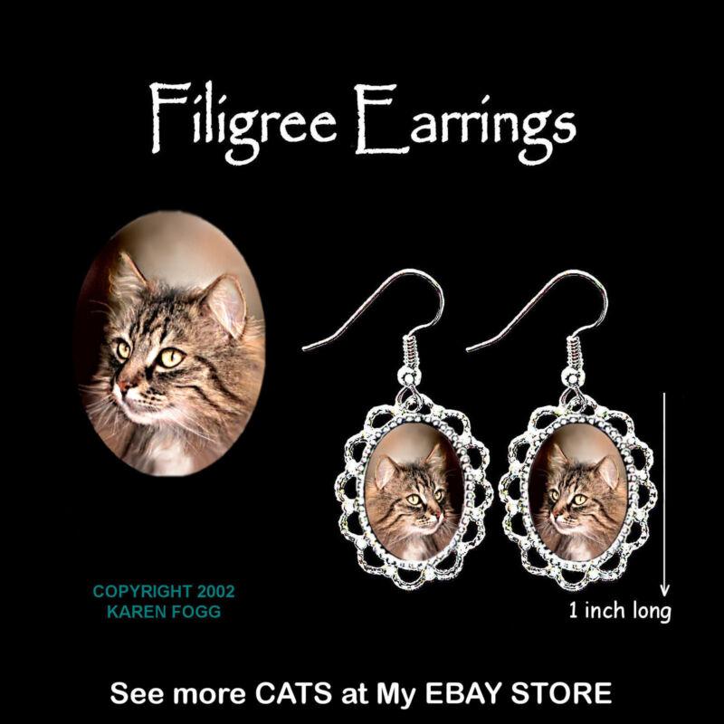 NORWEGIAN FOREST Cat - SILVER FILIGREE EARRINGS Jewelry
