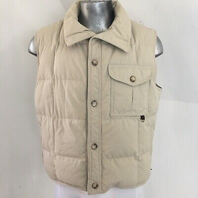ABERCROMBIE & FITCH Vintage Khaki Cotton Shell Down Vest Made In USA Size 44 Men