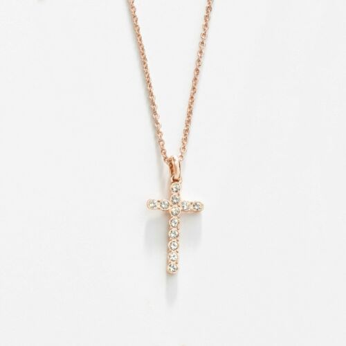 Touchstone Crystal Petite Cross Necklace, Rose Gold Item 4330NF Why wait until S