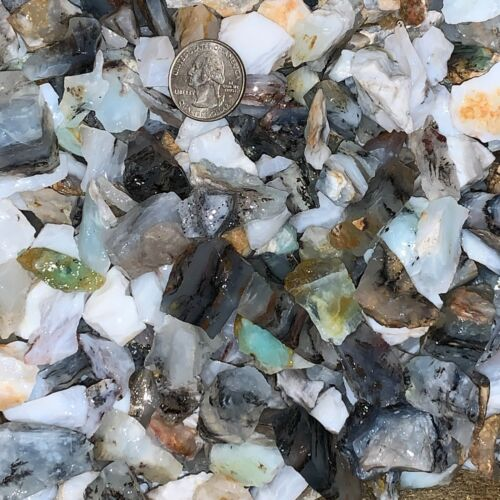 2000 Carat Lots of SMALL Blue Opal Rough - Plus a FREE Faceted Gemstone