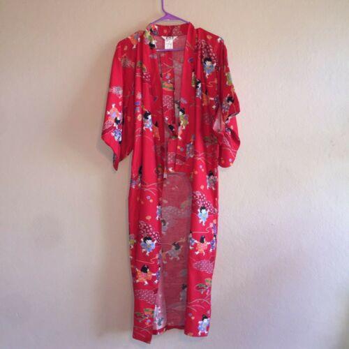 "Vintage Not Worn Juguemm Japanese Japan Red Kimono Robe 50"" Waist Tie Cotton"