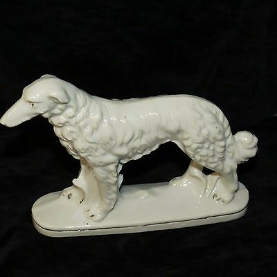 VINTAGE PORCELAIN RUSSIAN WOLFHOUND BORZOI FIGURINE WHITE W/ GOLD TRIM JAPAN