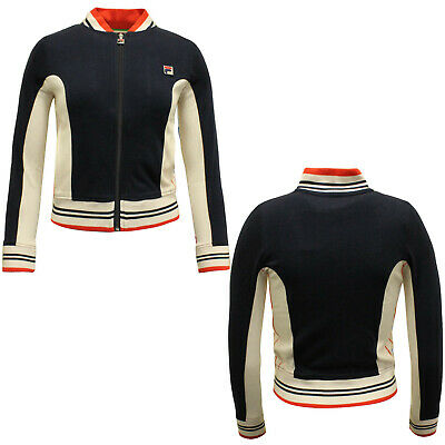 Fila Womens Cotton Zip Up Jacket Navy Track Jacket Top Casual U89996 408 X11A