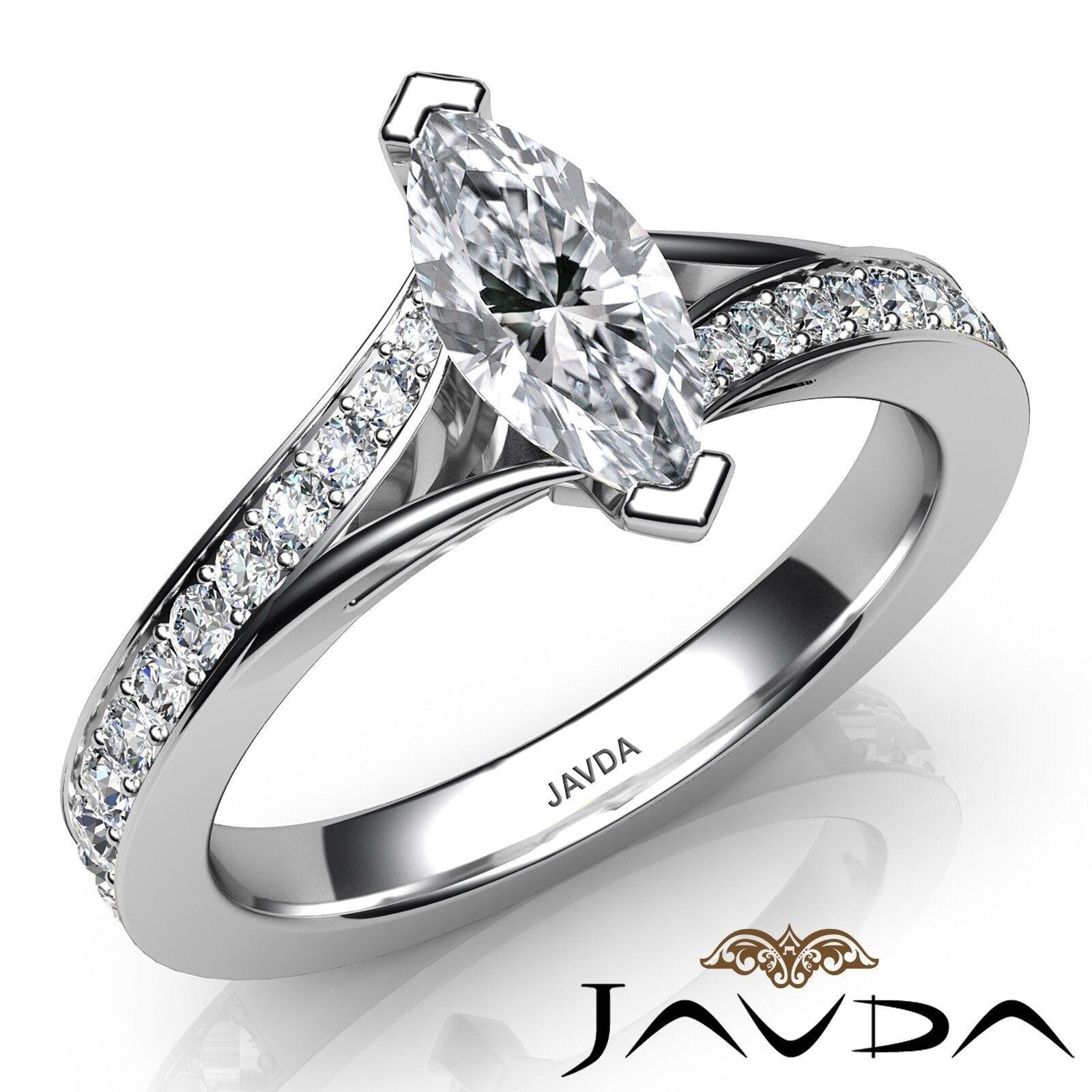 0.85ctw Pave Classic Sidestone Marquise Diamond Engagement Ring GIA F-VS1 W Gold
