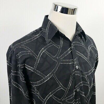 Acorn x Bob Goldfeder Mens Medium Button Front Shirt Black Embroidered Vines