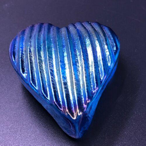 Robert Held Art Glass Heart Paperweight Iridescent Blue