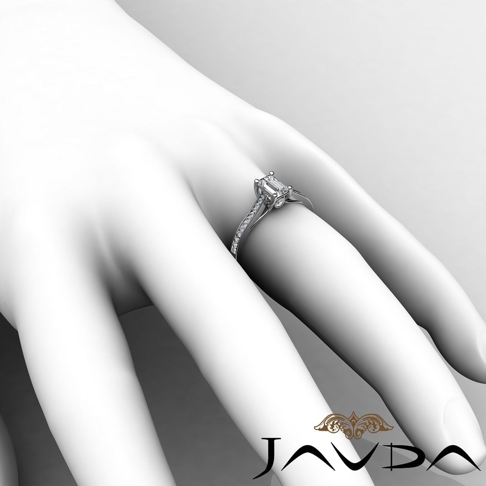 1.32ctw Channel Set Shank Emerald Diamond Engagement Ring GIA F-VVS2 White Gold 4