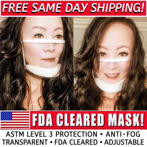 Clear Face Mask Transparent See through mask for hearing impaired - FDA Cleared!