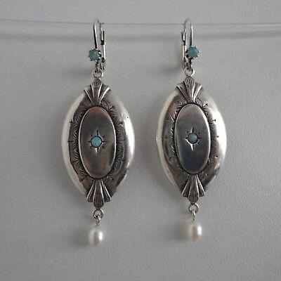 Opalschmuck Ohrringe Opal Perle Trachten Retro Vintage antik Silber 925/- (Antik Trachten Schmuck Ringe)