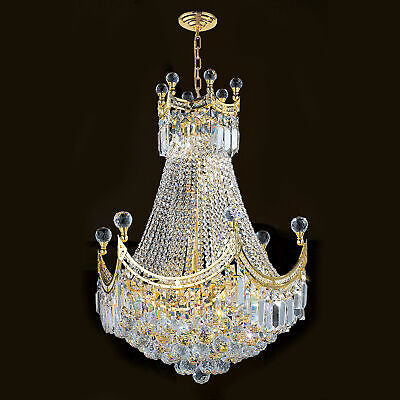 Sale Gold Chandelier - SALE French Empire 9 Light Gold Finish Clear Crystal Chandelier Round Medium