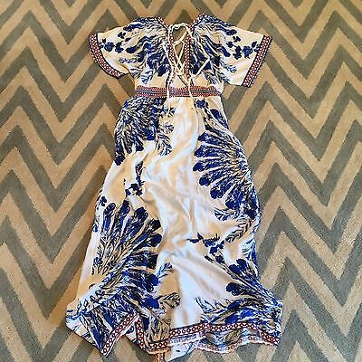 New Anthropologie Womens Blue White Boho Floral Maxi Summer Wrap Dress Medium
