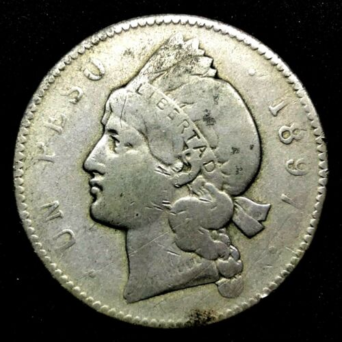 1897-A Dominican Republic 1 Peso 25 Grams Silver Coin- Rare. KM #16.