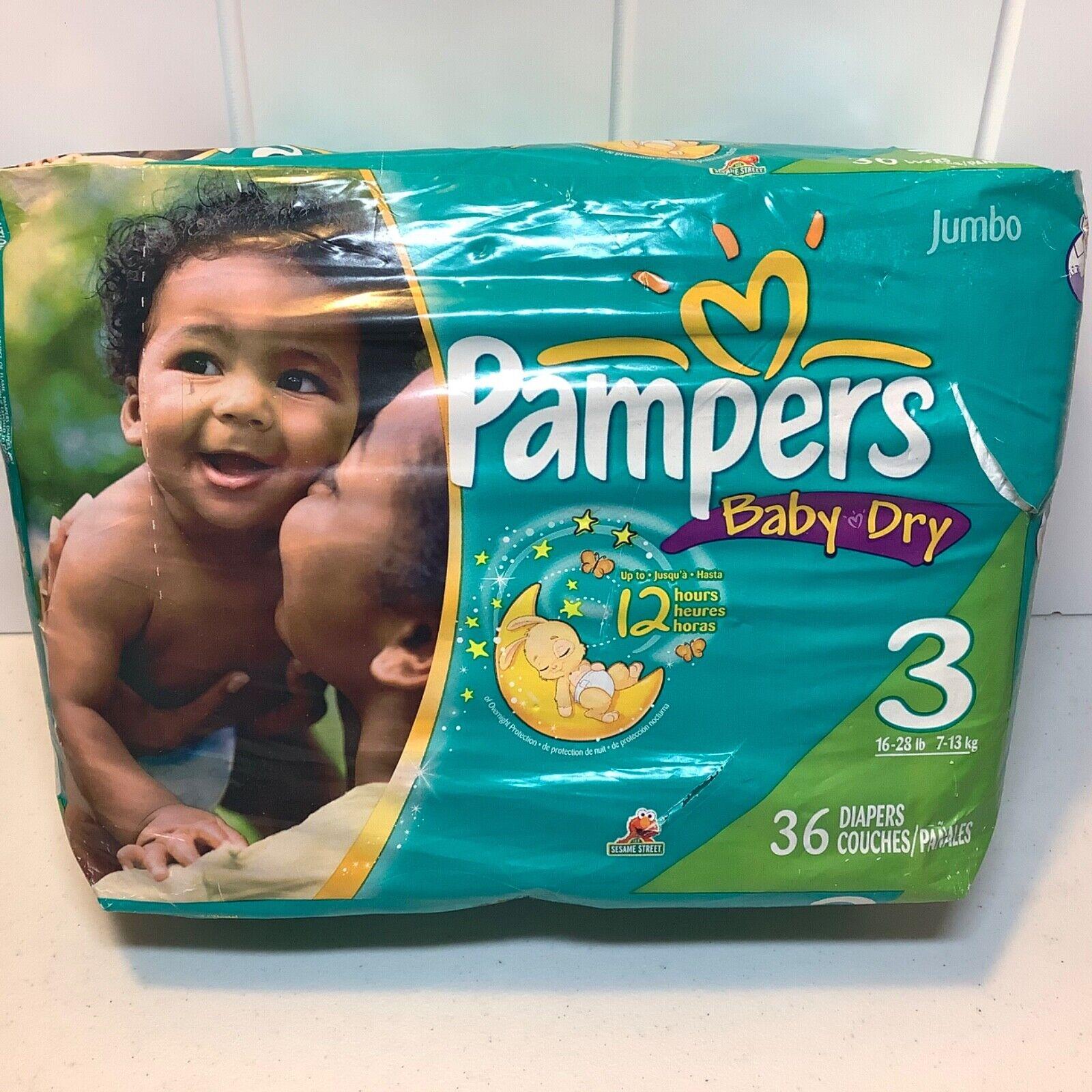 Pampers Baby Dry 2009 VINTAGE Sesame Street Size 3 36 Diapers Jumbo Pack ELMO - $34.99