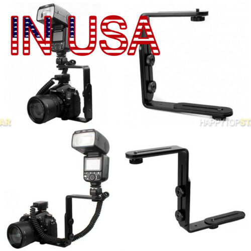 "US Metal Dual L Shape Camera Flash Bracket UN 1/4"" Thread Speedlite Holder Mount"