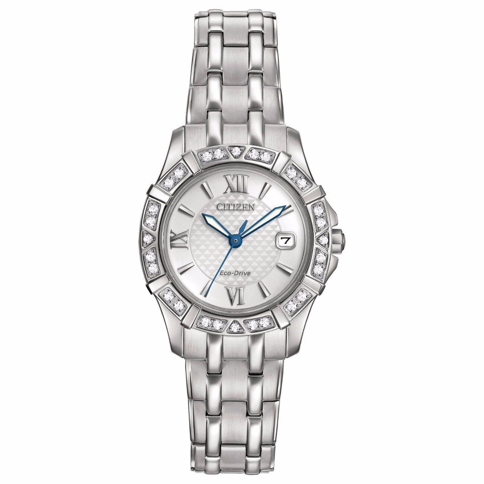Citizen Eco-Drive Women's Diamond Silver Tone Bracelet 26mm